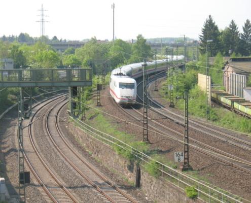 ICE in Gießen, Frankfurter Straße / ehem. Bahnbetriebswerk